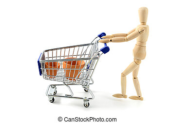 wooden mannequin shopping garden tools with a cart on white isolated background
