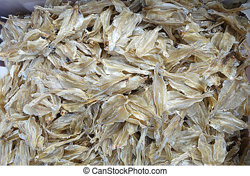 Dried fish used in Asian cuisine - Dried small fish used in...