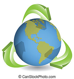 globe and green arrows