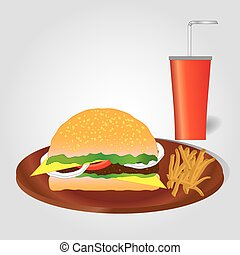 Hamburger with french fries and drink on light grey background. Fast food menu