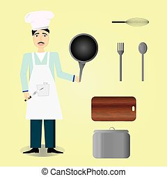 chef icon over yellow background, cooker, cook, kitchen tools set
