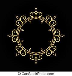 Gold vintage frame on black background. Line art monogram for your design.