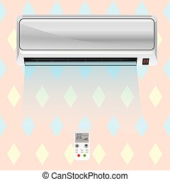 Working air conditioner on the wall in the room with remote controller. Vector illustration