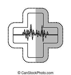 heartbeat inside cross icon