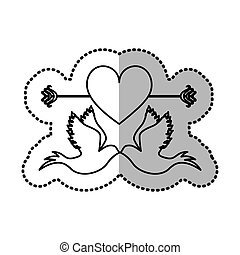 Pigeons with heart icon image