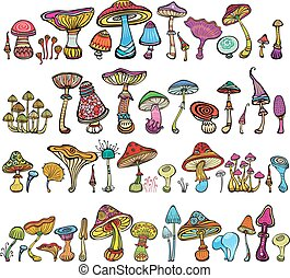 Set of stylized mushrooms in doodle style