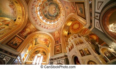 Panning of ceiling of orthodox the Cathedral of the Redeemer...
