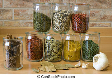Collection of spices in glass jars