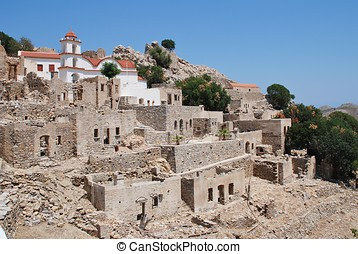 Ruined village, Tilos - The ruins of the abandoned village...