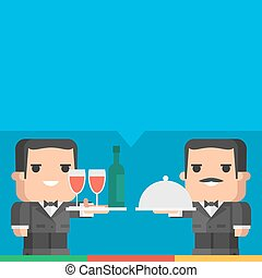 Waiter holding tray of drinks and meal