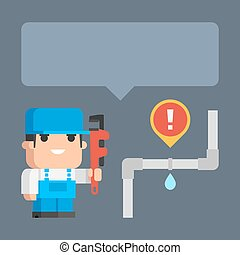 Plumber smiling and holding pipe wrench concept