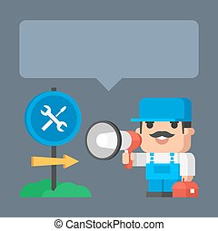 Plumber smiling and holding megaphone concept -...