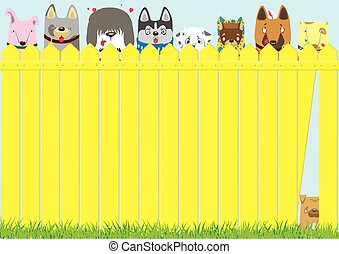 Cartoon dogs on the yellow fence on blue sky background....