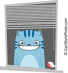 Funny blue cartoon cat in the window.