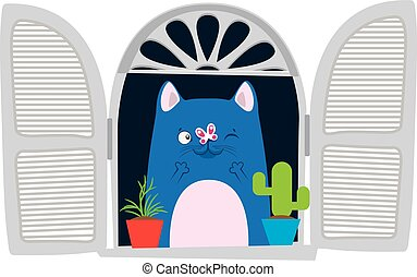 Funny cartoon cat in the window.