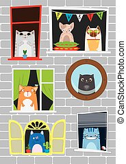Funny cartoon cats in the window. Cats party