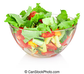 Fresh vegetable salad in glass bowl isolated on white...