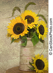 Vintage sunflowers - Sunflower bouquet in vintage jug.