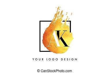 AK Letter Logo Circular Purple Splash Brush Concept. - AK...