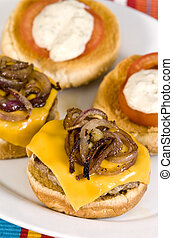 fast food - Cheeseburger with fried onions tomato and white...