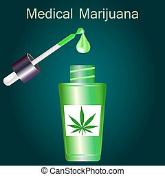 Bottle with liquid medical marijuana with pipette on dark background, vector illustration