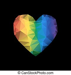 Polygonal Heart in rainbow colors on black background