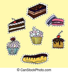 Cool stickers set of pastries on yellow background. Patch badges with cartoon pastries, cakes, biscuits. Vector chic doodle set
