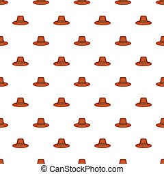 Brown pilgrim hat pattern, cartoon style - Brown pilgrim hat...