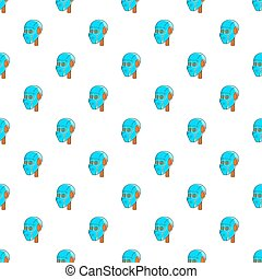 Robotic head pattern, cartoon style