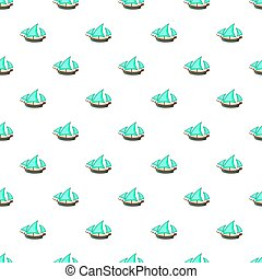 Three sailing wooden ship pattern, cartoon style - Three...