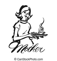 Mother Waitress serving coffee