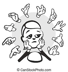 Stick figure series emotions - Burn out, hand-drawn vector...