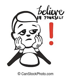 Stick figure series emotions - lack of self confidence,...