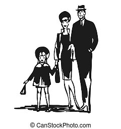 Vintage Family walk leisure time, Vector Black and White...