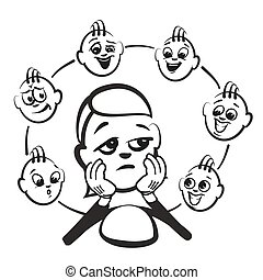 Stick figure series emotions - admiration, hand-drawn vector...