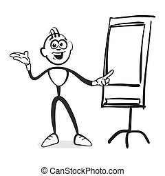 Stick figure series emotions - man at flipchart, hand-drawn...