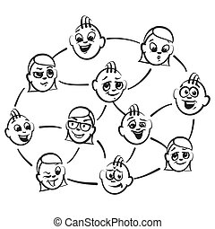 Stick figure series emotions - circle of friend, hand-drawn...