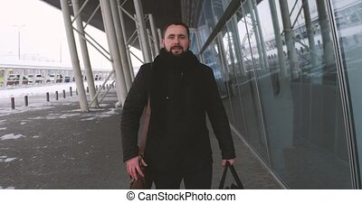 Business Man at Airport Hurry to Meet