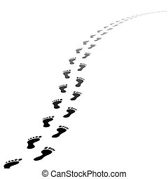 Vector foot tracks footpath - Perspective Footpath of vector...
