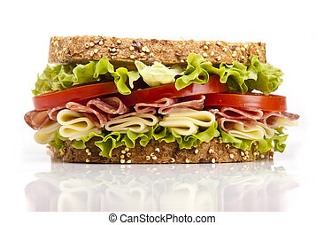 sandwich - Salami sandwich with cheese lettuce and tomato