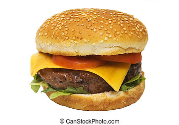 fast food - Cheeseburger with tomato and lettuce isolated on...