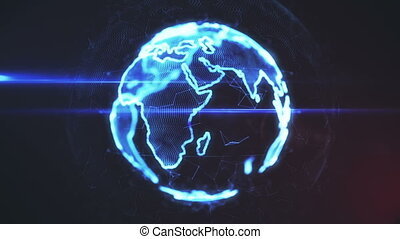Holographic Earth Rotation 3d Render - Holographic Earth...