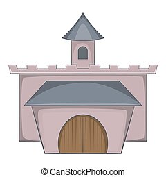 Medieval palace icon, cartoon style - Medieval palace icon....