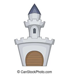 Medieval royal castle icon, cartoon style - Medieval royal...