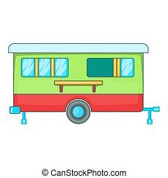 Mobile home icon, cartoon style - Mobile home icon. Cartoon...