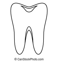 Tooth icon, simple style - Tooth icon. Outline illustration...