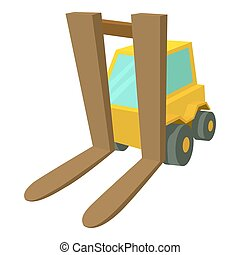 Forklift icon, cartoon style - Forklift icon. Cartoon...