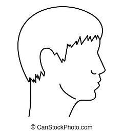 アイコン, 単純である, 頭, スタイル, 人間