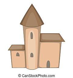 Medieval castle icon, cartoon style - Medieval castle icon....