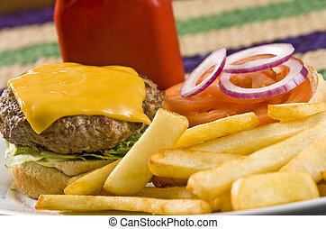 fast food - Cheeseburger with ketchup and french fries